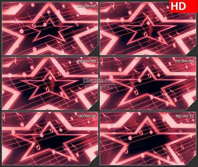 BG4559粉红色星光放射音符五线谱音乐led大屏背景高清视频素材