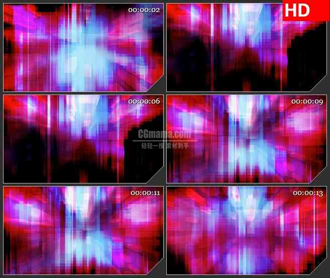 BG4583粉紫色蓝色半透明像素块发光条led大屏背景高清视频素材