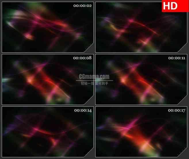 BG4587光棱镜红色绿色梦幻光影黑色背景led大屏背景高清视频素材