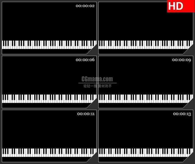 BG4591黑白钢琴键盘移动黑色背景带透明通道led大屏背景高清视频素材