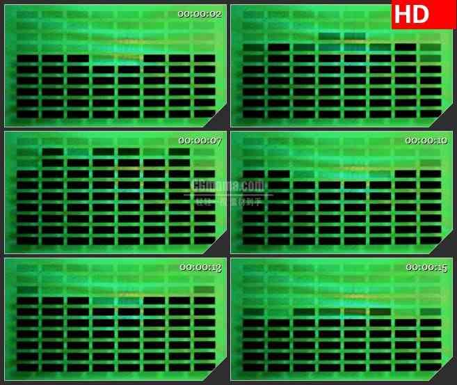 BG4595黑色方块音量条波动绿色背景led大屏背景高清视频素材