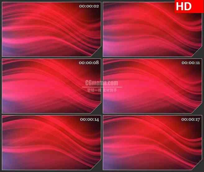 BG4606红色绸缎波浪光线波动变换led大屏背景高清视频素材