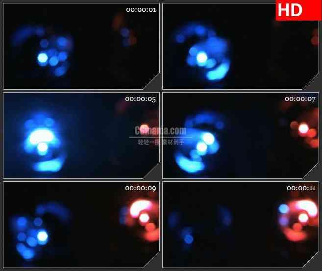 BG4617红色蓝色模糊光影光斑灯光球旋转特写led大屏背景高清视频素材
