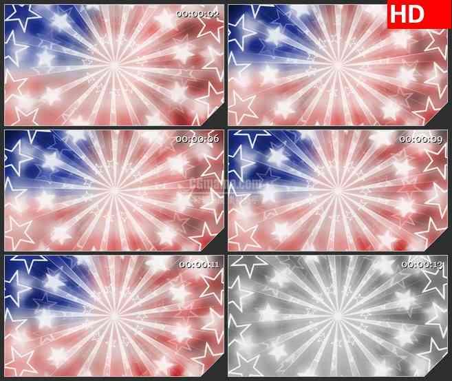 BG4618红色蓝色柔光爱国发光放射光束星星led大屏背景高清视频素材