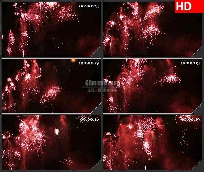 bg4628红色烟火发射绽放黑色背景led大屏背景高清视频素材