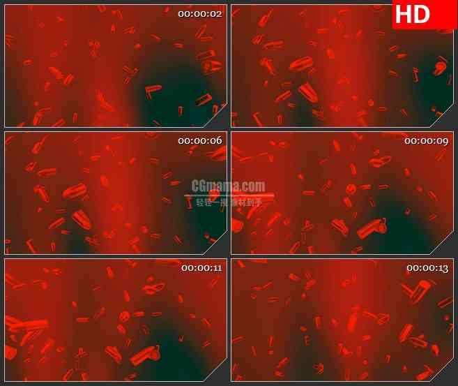 BG4632红色子弹粒子掉落红色背景led大屏背景高清视频素材