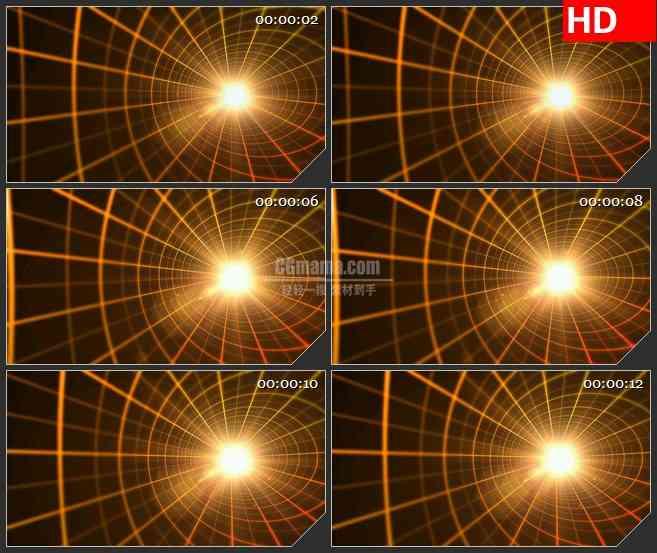 BG4653金色网格隧道放射光芒led大屏背景高清视频素材