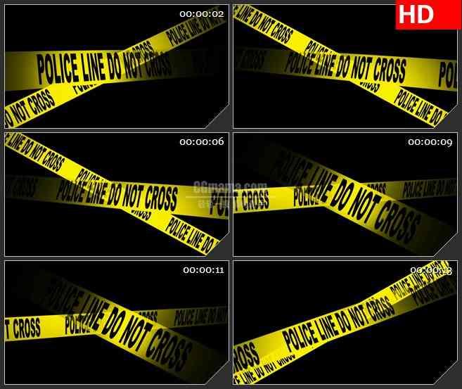 BG4654警察黄色封锁条交叉黑色背景带透明通道led大屏背景高清视频素材