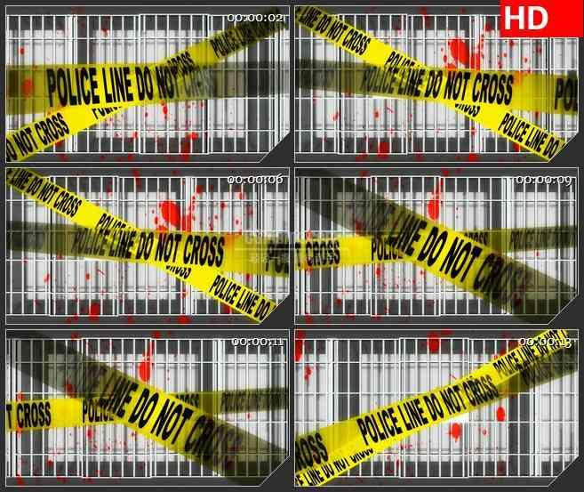 BG4655警察黄色封锁条铁网红色血迹led大屏背景高清视频素材